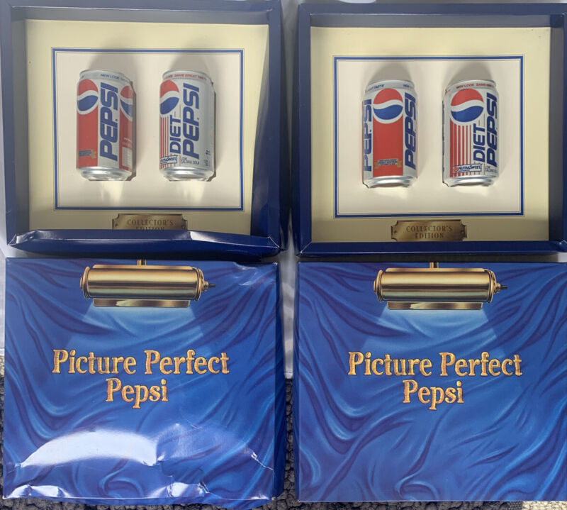 (2) Vintage Pepsi Collectors Edition Picture Perfect Can Displays