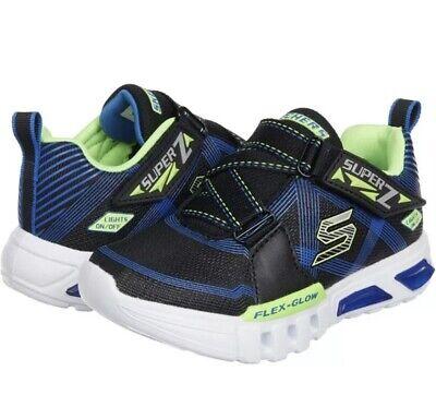 Skechers Boys Light Up Sneakers Size 12 Flex Glow Parrox Sneakers Boys Kids NIB