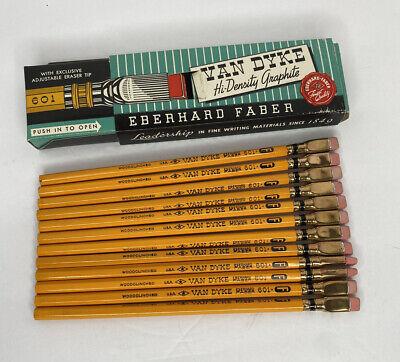 Vtg Eberhard Faber Van Dyke Hi-Density Pencils 12 Unsharpened  in Box 601 No.2