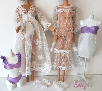 Barbie Fashion Doll Vintage Collector Lace Dress Lingerie Clothes Bundle Lot