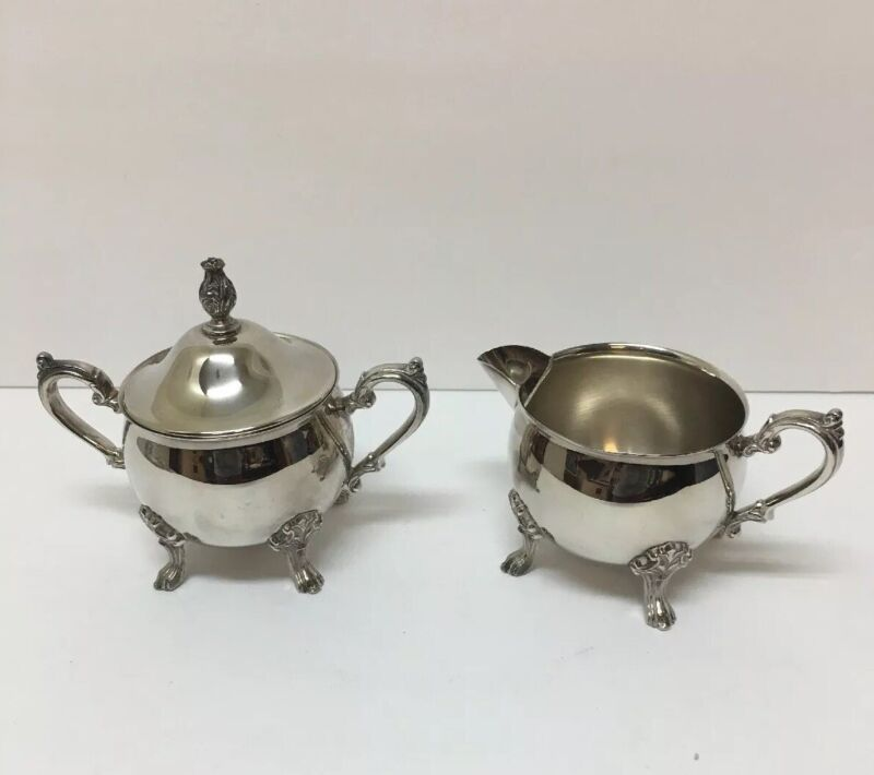 ORNATE VINTAGE/ANTIQUE SILVERPLATED SUGAR BOWL WITH LID AND CREAMER