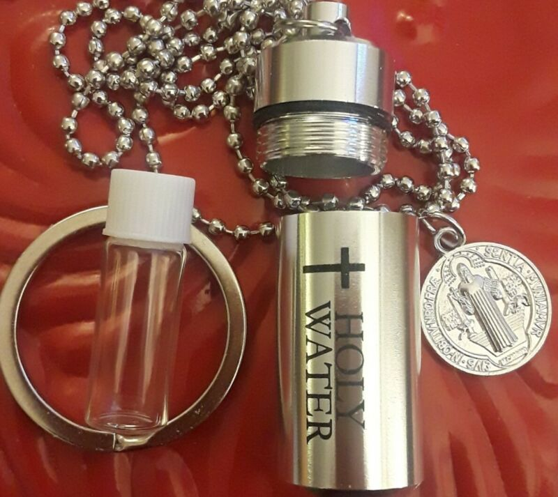 LOT: SILVER HOLY WATER BOTTLE ST BENEDICT MEDAL KEY RING CROSS PENDANT+NECKLACE