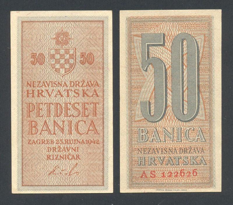 CROATIA  50 Banica 1942  UNC  ~ WWII ~ NDH ~ USTASHA ~ PAVELIC,  Scarce in UNC