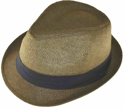 Nayt Men's Straw Fedora Brown With Black Band 64cm 3xl