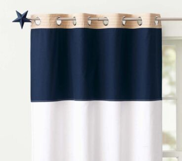 4 x Pottery Barn Blackout Curtains and 2 x Curtain Rods