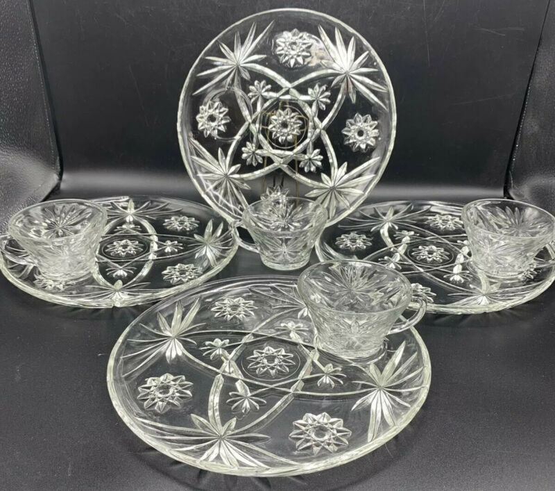 Vintage lot Set Of 4 Anchor Hocking Star of David Glass Cup Luncheon Snack Plate