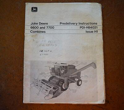 John Deere 6600 7700 Combines Dealer Predilvery Instruction Manual Pdi-h84021