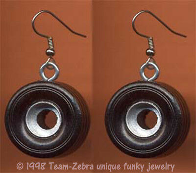 Funky TIRES EARRINGS Auto Truck Mechanic Racing Car Wheel Nascar Costume Jewelry