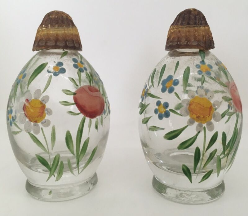 Vintage Glass Salt & Pepper Shakers with Hand Painted Flowers and Lucite Lids