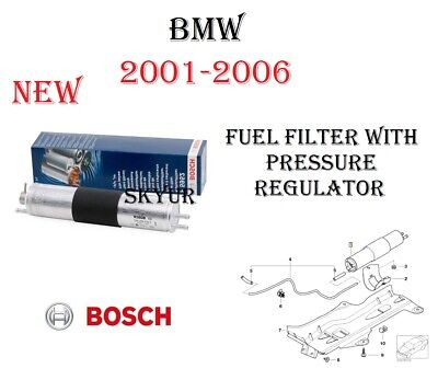 New Fuel Filter With Pressure Regulator Assembly For 2001-2006 BMW E46 Bosch