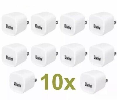 10x White 1A USB Power Adapter AC Home Wall Charger US Plug FOR iPhone 5S 6 7 8 Iphone Home Charger