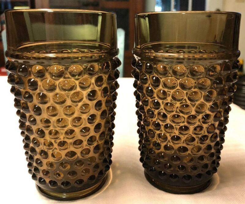 Imperial Glass Smoke Hobnail Glasses Set Of 2