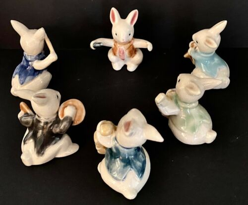 Boxed BUNNY BAND ORCHESTRA MEMBERS & INSTRUMENTS 6 Ceramic Figurines