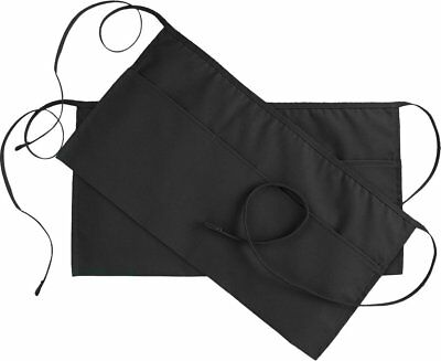Black Waist Apron 2 Pk 3 Pocket 24 X 12inch Waitress Waiter Servers Half Apron