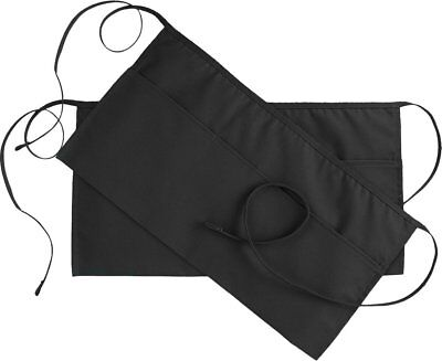 Black Waist Apron 2 Pk 3 Pocket 24 X 12inch Waitress Waiter Servers Half Apron