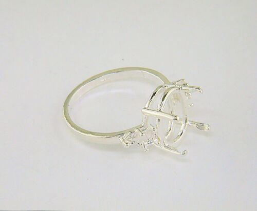 Oval Double Side Accented Ring Setting Sterling Silver