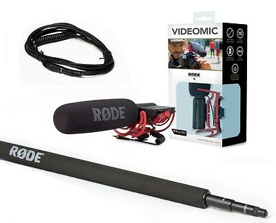 RODE VideoMic Shotgun Mic with Boom Pole & 10' Cable!