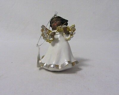 AFRICAN AMERICAN ANGEL TRIMMED WITH GOLD ORNAMENT RESIN FIGURINE