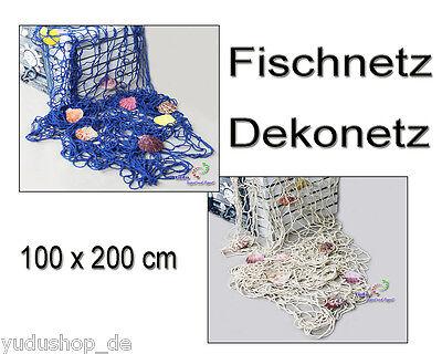 Dekonetz Fischernetz mit Muscheln Maritim Design dicke Baumwolle