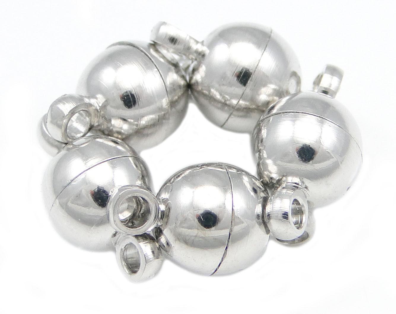 5 Magnet Verschluss 6mm x 11,5mm Silber Ketten Verbinder stark Kugel NEU KM11M