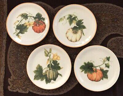 Williams-Sonoma Thanksgiving Fall Autumn Pumpkin Salad/Dessert Plates Set of 4