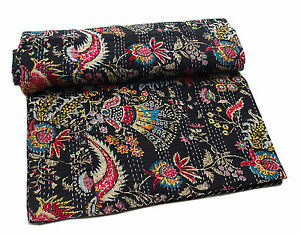 Paisley Print Black Double Indian Kantha Quilt Blanket Bedspread Bedding UK Q21
