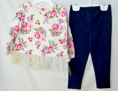 LITTLE ME 100% Cotton Fashion FLORAL Tunic Top Legging Set SIZE 24 MONTHS NWT