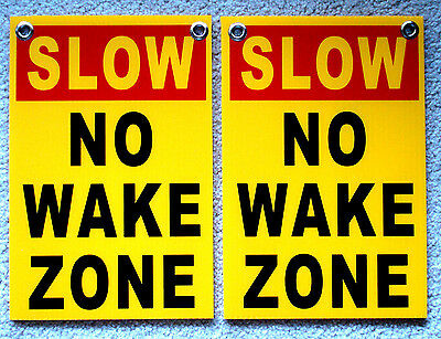 2 Slow - No Wake Zone 8 X12 Plastic Coroplast Signs With Grommets Yellow