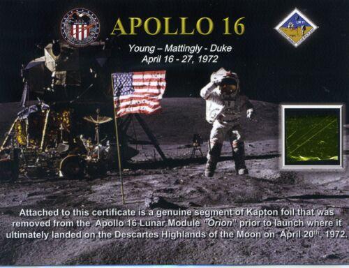 Apollo 16 - Kapton Fragment From the Apollo 16 Lunar Module on Beautiful Cert.