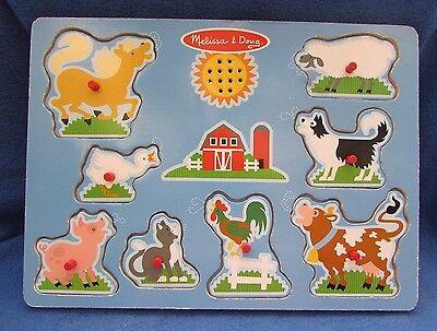 Melissa Doug 8 Farm Animal Sound Wooden Peg Puzzle 7915