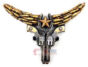 Small Rustic Western Longhorn Steer Pistols Horseshoe Star Bullets Wall Decor
