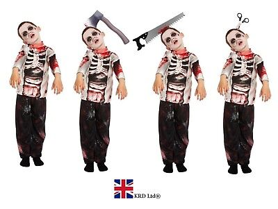 BOYS ZOMBIE COSTUME Kids Scary Halloween Fancy Dress Party Outfit Skeleton UK