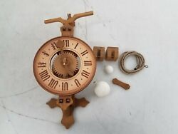 Wood Gear Mechanical Weighted Skeleton Wall Clock