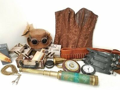 Huge Steampunk Gear Lot - Leather Accessories, Bodice, Hat, Compasses ++