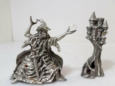 """Masterworks Pewter Wizard 4"""" and Castle"""