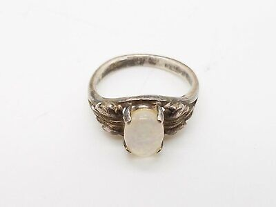 925 Sterling Silver Round Oval Opal Doublet 4-Prong Ring US Size 4.5 JM411