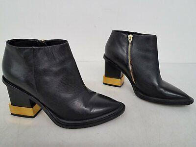 Kat Maconie U.S. Women's Size 7.5 Gold & Black Leather Platform Heel Boots GO