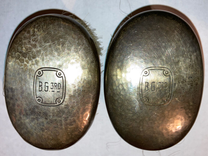 Pair Antique Wm B Kerr & Co sterling silver Brushes Hammered Arts & Crafts Brush