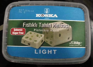 TURKISH Sugar-Free Tahini Halva, Diabetic, Pistachio, Plain, Cocoa by KOSKA,350g