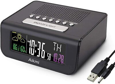 Digital Dual Alarm Clock Radio FM Battery Backup,Large Display,Weather Forecast