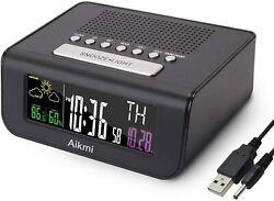 Digital Dual Alarm Clock Radio FM Battery Backup,Large Display,Weather Forecast