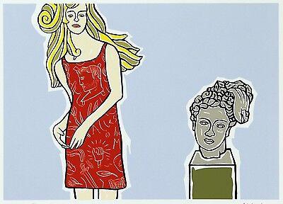 """ORIGINAL MORITZ GÖTZE """"Mädchen mit Antike"""" SIEBDRUCK HANDSIGNIERT - POP ART 2009"""