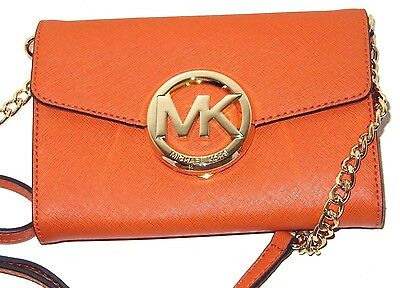 Michael Kors Hudson Tangerine Orange Leather Crossbody Large Phone Bag NWT $198