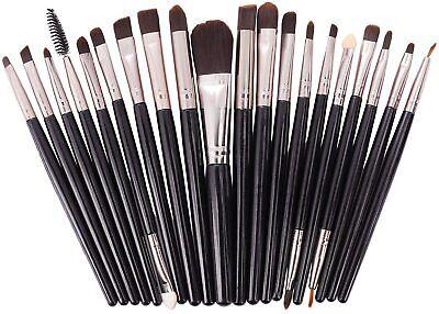 Brochas de Maquillaje 20 piezas Pinceles de Maquillaje Profesional Fibra (Black)