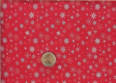 CHRISTMAS SNOWFLAKES ON RED - RTC FABRICS - BTHY - Red Snowflakes