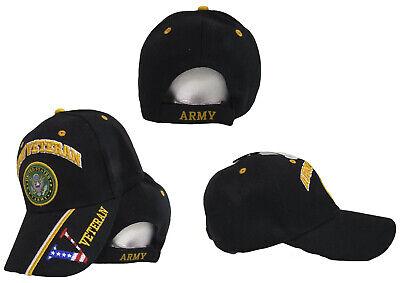 "US Army Veteran Vet USA Flag ""V"" Digital Black Embroidered Cap Hat CAP591B TOPW"