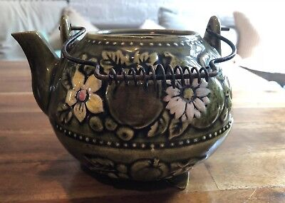(Retro Vintage Footed Green Teapot Embossed Flowers Japan (?) Wire Handle No Lid)