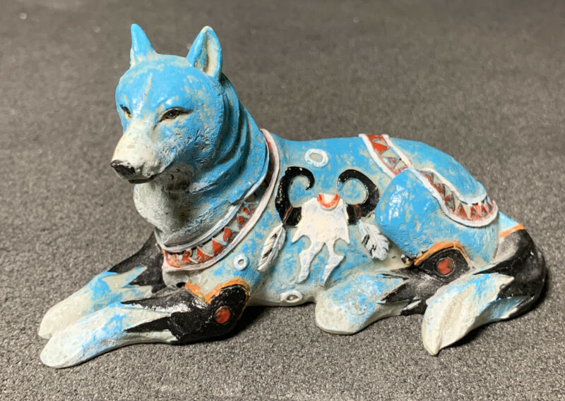 "Westland Giftware ""Call of the Wolf"" Resin Figurine, Blue Lying Skull Rare! HTF!"