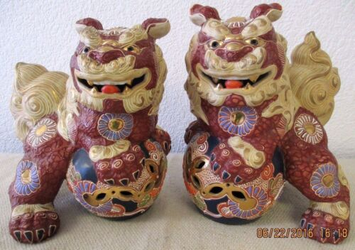 Pair of Vintage Large Ornate Hand Painted Foo Dog Statues with Gold Gilt - 1960