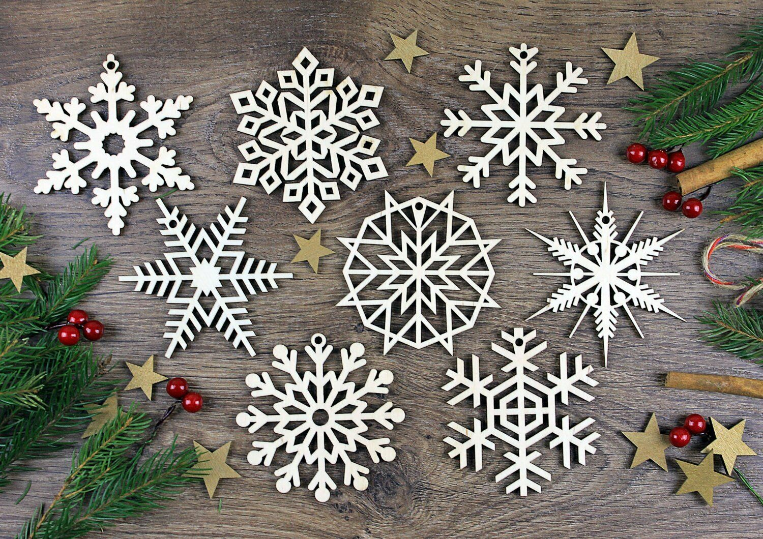 Laser Cut Christmas Ornaments Custom Name Snowflake Ornament 5 Inches Wood Christmas Decoration Set of Personalized Wooden Snowflake Ornaments
